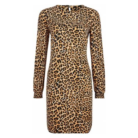 Dorothy Perkins Sukienka 'ANIMAL RUFFLE LONG SLEEVE SHIFT DRESS' beżowy