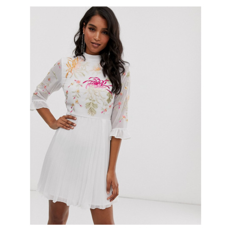 ASOS DESIGN embroidered pleated mini dress with fluted sleeve