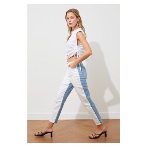 Trendyol biały niebieski kolor zablokowany wysoka talia mama dżinsy