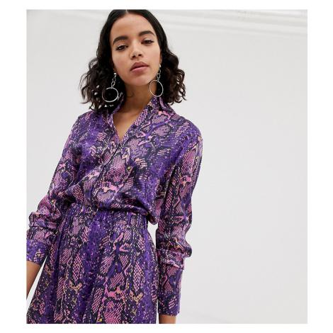 Na-kd neon snake print blouse in purple