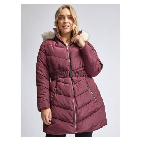 Burgundy quilted winter coat Dorothy Perkins Curve