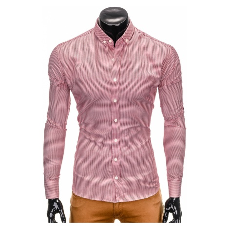 Ombre Clothing Men's check shirt with long sleeves K400
