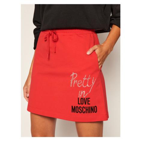 LOVE MOSCHINO Spódnica trapezowa W155801E 2182 Czerwony Regular Fit