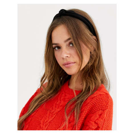 ASOS DESIGN headband in triple row plisse in black