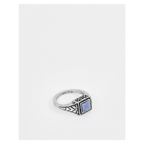 ASOS DESIGN ditsy ring in burnished silver with navy stone