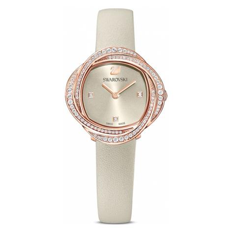 Zegarek Crystal Flower, pasek ze skóry, szary, powłoka PVD w odcieniu różowego złota Swarovski
