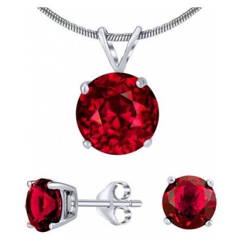 Silvego Srebrny zestaw biżuterii z czerwonym kryształem JJJS7RR1 ( Kolczyki, wisiorek ) srebro 9