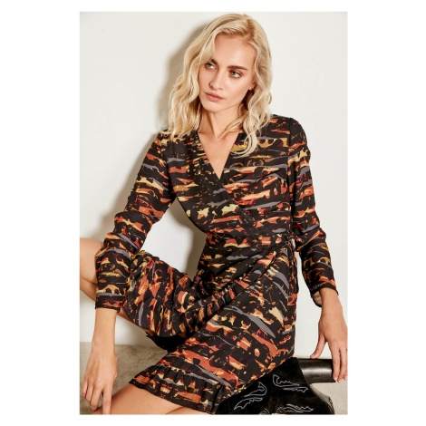 Trendyol Brown Frilled Double-breasted Dress