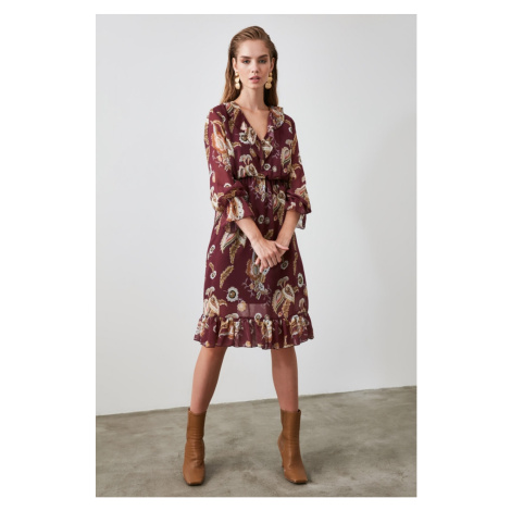 Trendyol Brown Frill Detailed Dress