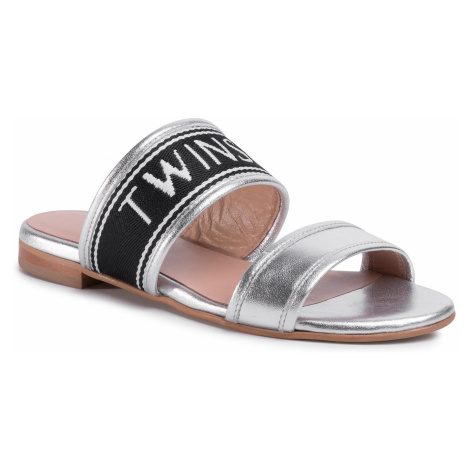 Klapki TWINSET - Sandalo 201TCP130 Argento Laminato 04825