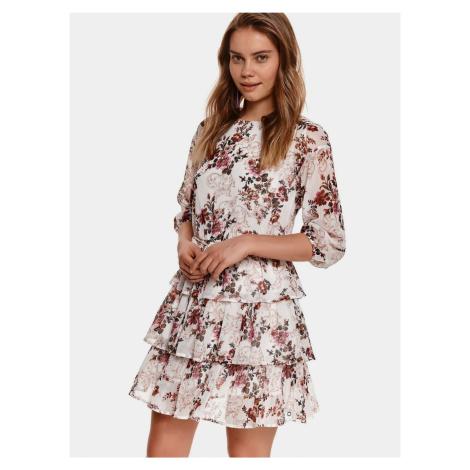 TOP SECRET wiśniowo-kremowa sukienka kwiecista