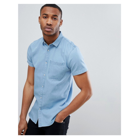 New Look Regular Fit Short Sleeve Denim Shirt In Light Blue Wash