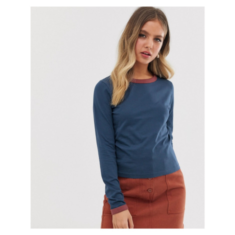 Brave Soul eloise long sleeve t shirt with contrast rib