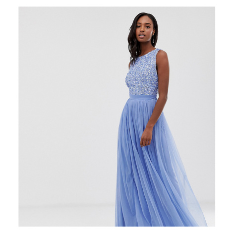 Maya Tall delicate sequin bodice maxi dress with cross back bow detail in bluebell