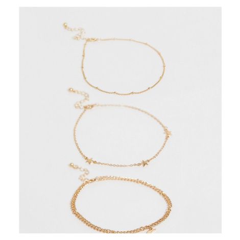 ASOS DESIGN Curve pack of 3 anklets with star and moon pendants in gold tone
