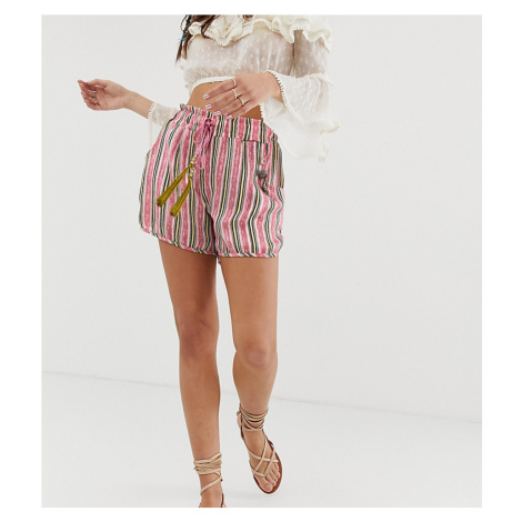 Aratta relaxed stripe shorts with contrast tassle co-ord