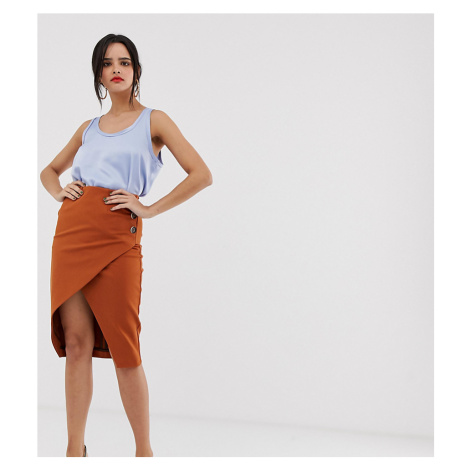 River Island wrap front skirt with button detail in rust