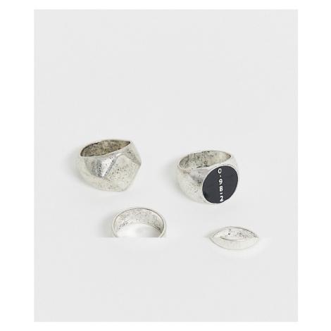 Bershka 3-pack rings in silver