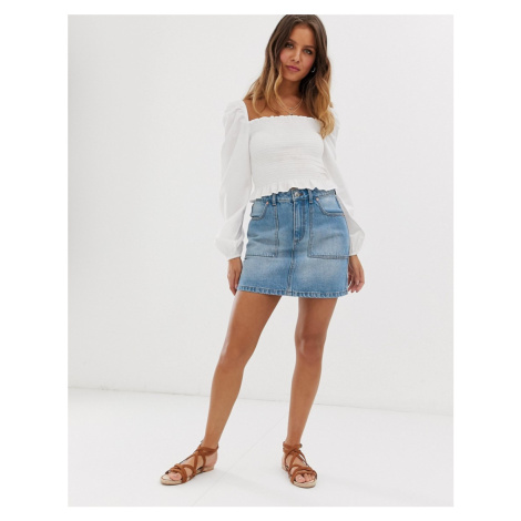 Miss Selfridge denim skirt with cargo pockets in mid wash