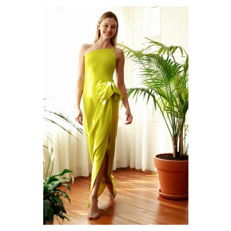 Trendyol Yellow Pucker Detailed Evening Dress & Graduation Dress