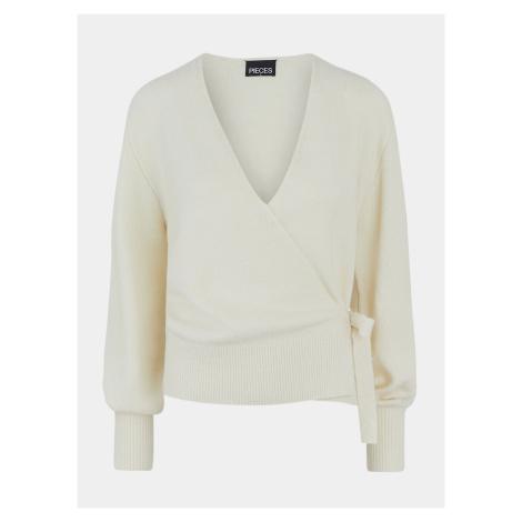 Pieces kremowy sweter damski