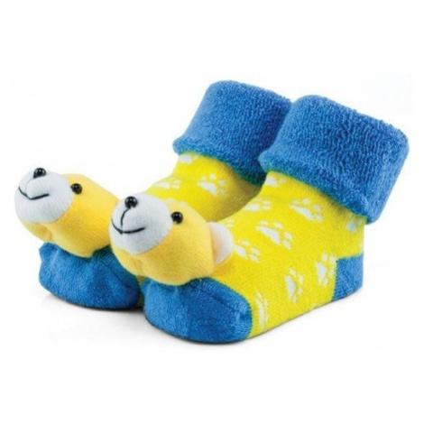 Attractive skarpetki chłopięce z pluszowym misiem żółty/niebieski