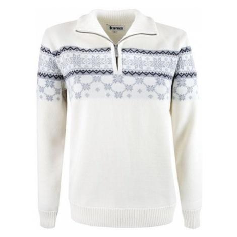 Kama sweter damski Merino 5007 naturalnie biały