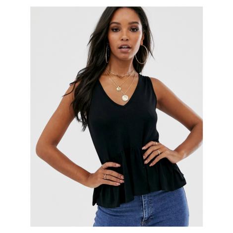 Boohoo vest top with peplum hem in black