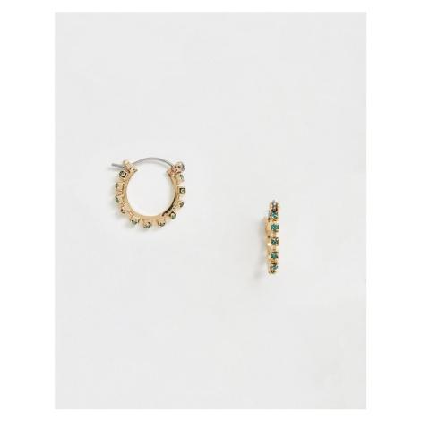 ASOS DESIGN hoop earrings with coloured rhinestones in gold tone