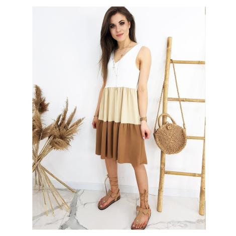 Sukienka TRIOSET, wielbłąd EY1309 DStreet
