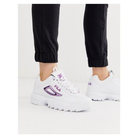 Fila Disruptor II trainers in white with metallic purple