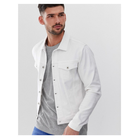 Solid stretch denim jacket white