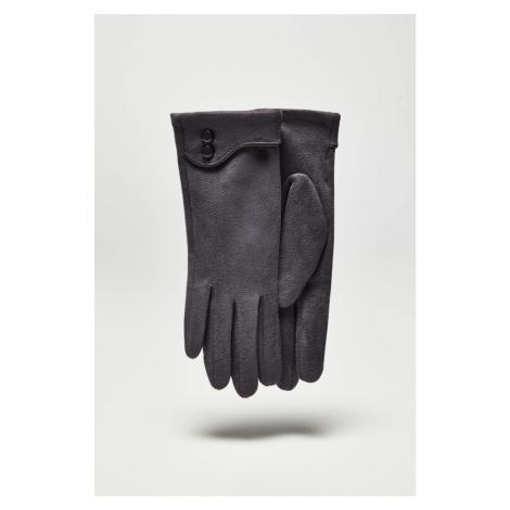 Moodo szare rękawiczki z guziczkami