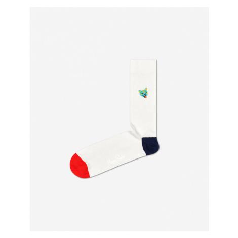 Happy Socks Ribb Embroidery Cat Skarpetki Biały