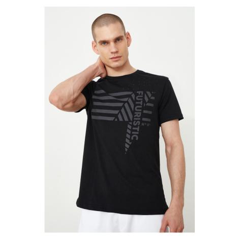 Modsyol Czarny Męskie Regularne Dopasowanie Kołnierz rowerowy Krótki rękaw z nadrukiem T-shirt Trendyol