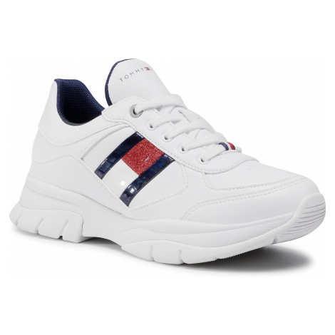 Sneakersy TOMMY HILFIGER - Low Cut Lace-Up Sneaker T3A4-30816-1023 S White 100