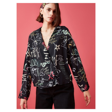 Trendyol czarna bluzka damska ze wzorem