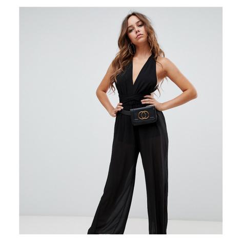 Boohoo cross back wide leg jumpsuit in black