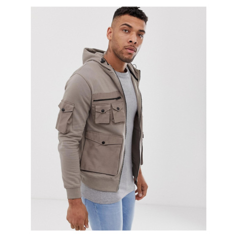 Soul Star utility multi pocket zip through in stone