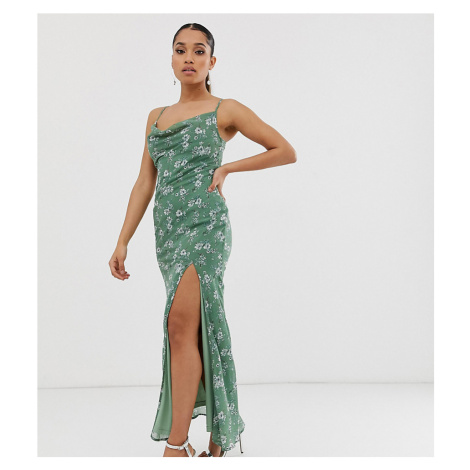Boohoo Petite exclusive maxi dress with cowl neck and side split in light green floral