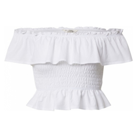 Miss Selfridge Koszulka 'SHORT SLEEVED SHIRRED BARDOT' biały
