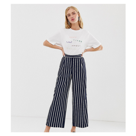 Monki stripe cropped trousers co-ord in navy