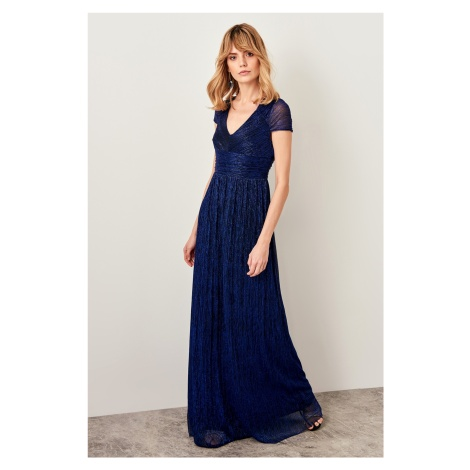 Trendyol Navy Blue Collar Detailed Sparkly Dress