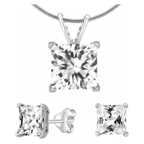 Silvego Zestaw biżuterii srebrnej z przezroczystym kryształ JJJSQ55 ( Kolczyki, wisiorek ) srebr