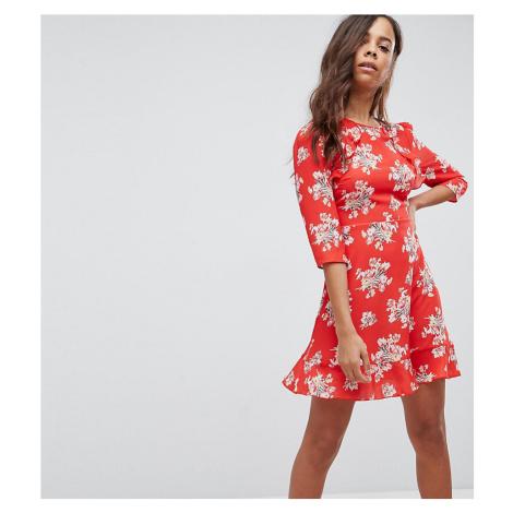 New Look Petite Floral Print Frill Detail Dress