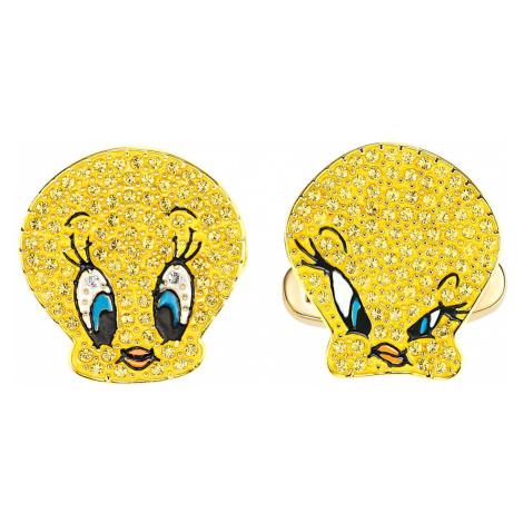 Spinki do mankietów Looney Tunes Tweety, żółte, w odcieniu złota Swarovski