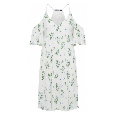 Boohoo Letnia sukienka 'Boutique Elizabetta Ditsy Pleated' biały