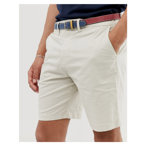 Pull&Bear chino shorts in beige with belt Pull & Bear