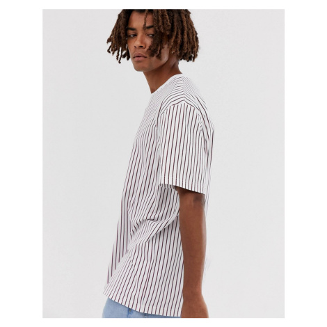 Brooklyn Supply Co relaxed t-shirt with vertical red stripes in white Brooklyn Supply Co.