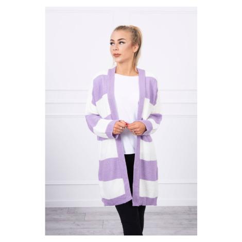 Dwukolorowy sweter ecru+fioletowy